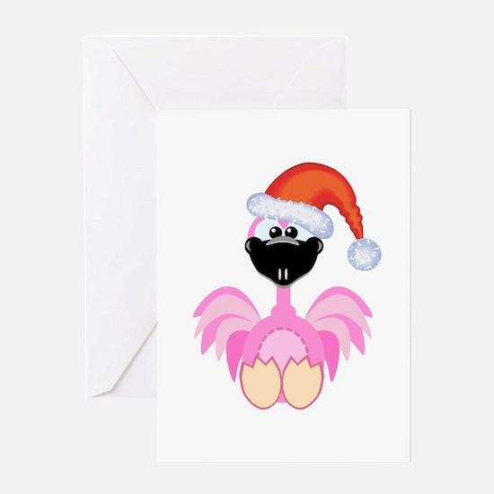 Cute Christmas Santa Flamingo Greeting Card