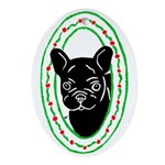Frenchie Holidays Oval Ornament
