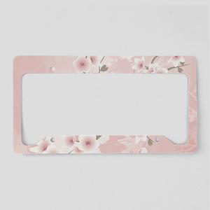 Dusky Pink Vintage Cherry Blo License Plate Holder