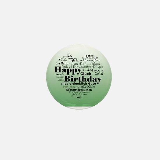 Green Happy Birthday Heart Mini Button