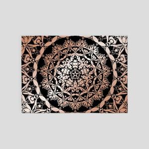 Rose Gold Black Floral Mandala 5'x7'Area Rug