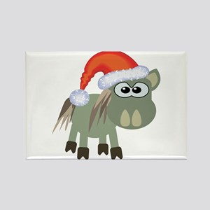 Cute Christmas Donkey Santa Rectangle Magnet
