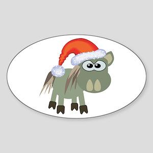 Cute Christmas Donkey Santa Oval Sticker