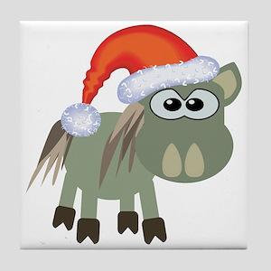 Cute Christmas Donkey Santa Tile Coaster