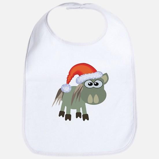 Cute Christmas Donkey Santa Bib