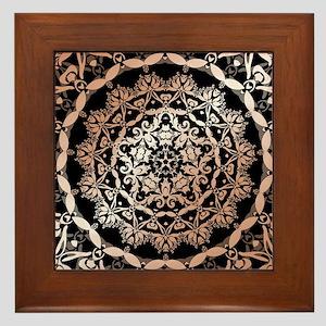 Rose Gold Black Floral Mandala Framed Tile