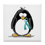 Teal Ribbon Penguin Tile Coaster