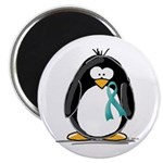 Teal Ribbon Penguin Magnet