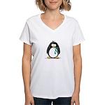 Teal Ribbon Penguin Women's V-Neck T-Shirt