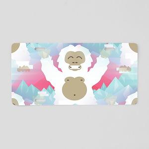 pink yeti Aluminum License Plate