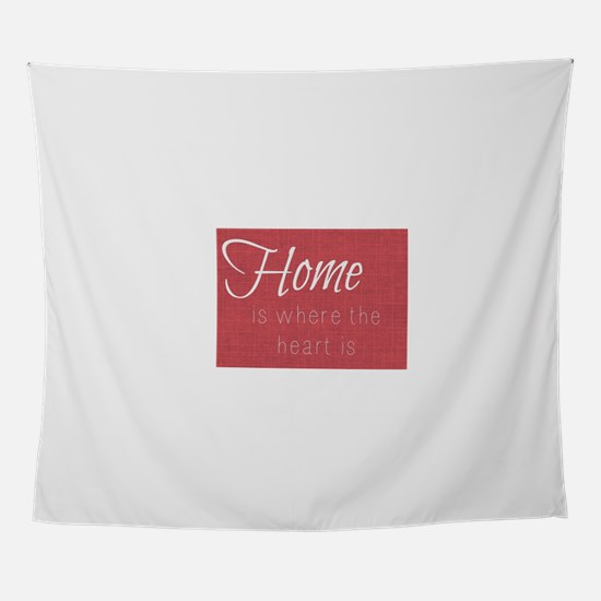 Home is Where the Heart Is (Red) Wall Tapestry