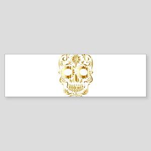 Shiny Golden Sugar Skull Bumper Sticker