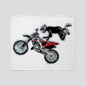 Motocross Jump Splatter Throw Blanket