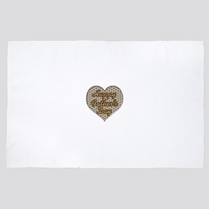 Checkered Happy Father's Day Heart 4' x 6' Rug