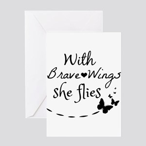 Courage greeting cards cafepress with brave wings she flies greeting cards m4hsunfo