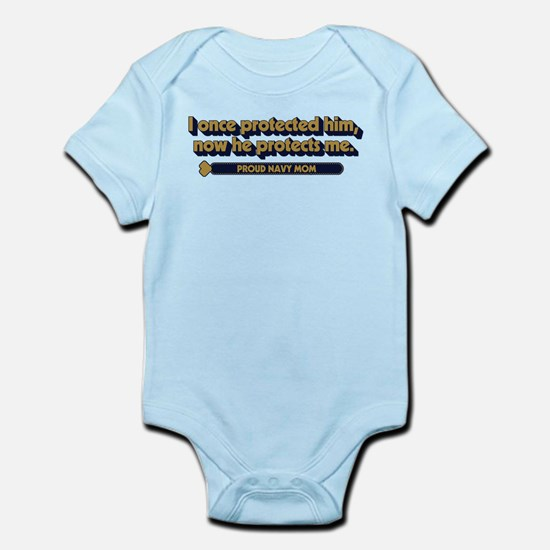 U.S. Navy Now He Protects Me Baby Light Bodysuit