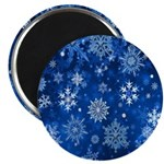Christmas Snowflakes Blue White Magnets