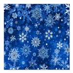 Christmas Snowflakes Blue White Square Car Magnet
