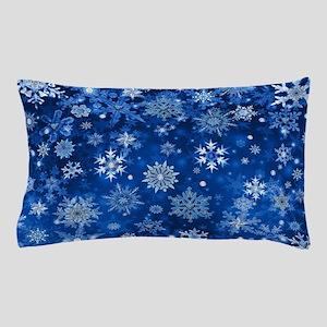Christmas Snowflakes Blue White Pillow Case