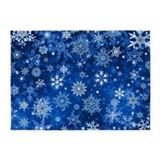 Christmas Snowflakes Blue White 5'x7'Area Rug