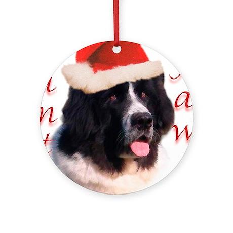 Santa Paws landseer Newf Ornament (Round)