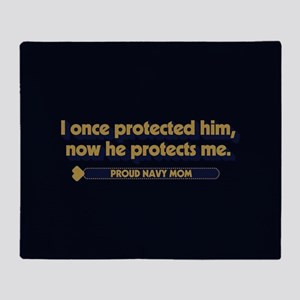 U.S. Navy Now He Protects Me Throw Blanket