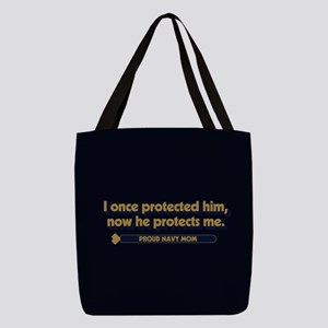 U.S. Navy Now He Protects Me Polyester Tote Bag