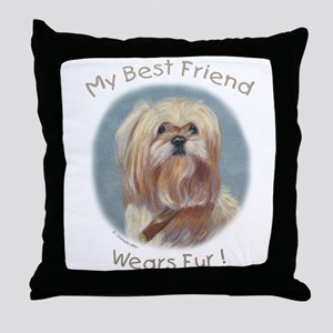 My Best Friend Wears Fur Throw Pillow