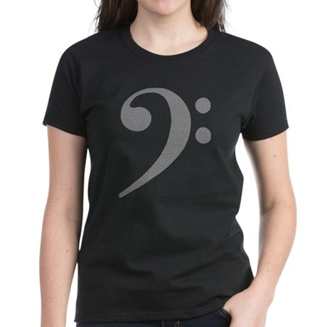 """Noiz"" Bass Clef Women's Dark T-Shirt"