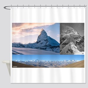 Everest,K2 and Matterhorn Summits Shower Curtain