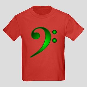"""Metallic"" Green Bass Clef Kids Dark T-Shirt"