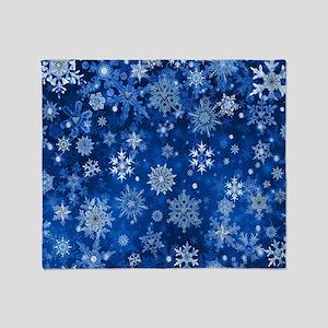Christmas Snowflakes Blue White Throw Blanket