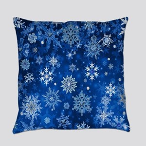 Christmas Snowflakes Blue White Everyday Pillow
