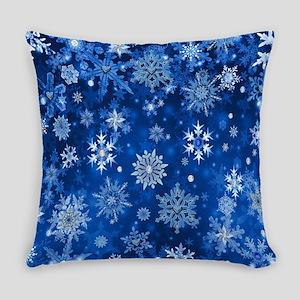Christmas Snowflakes Blue White Everyday Pillow