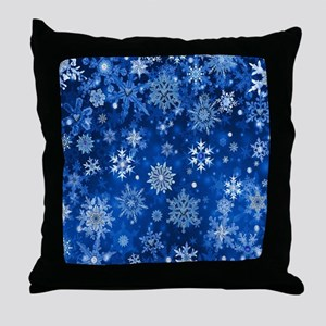 Christmas Snowflakes Blue White Throw Pillow