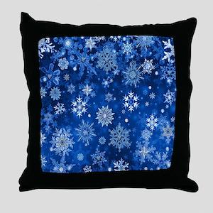 Christmas Snowflakes Blue White Throw Pillow