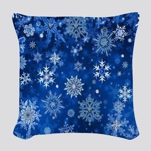 Christmas Snowflakes Blue White Woven Throw Pillow