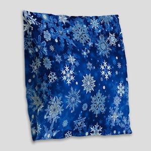 Christmas Snowflakes Blue White Burlap Throw Pillo