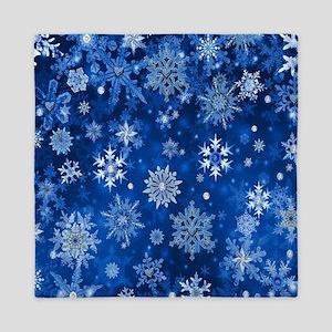 Christmas Snowflakes Blue White Queen Duvet