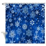 Christmas Snowflakes Blue White Shower Curtain