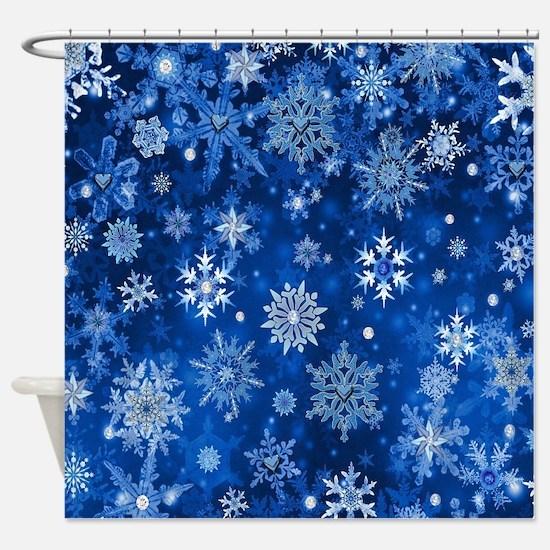 Christmas Snowflakes Blue White Shower Curtain