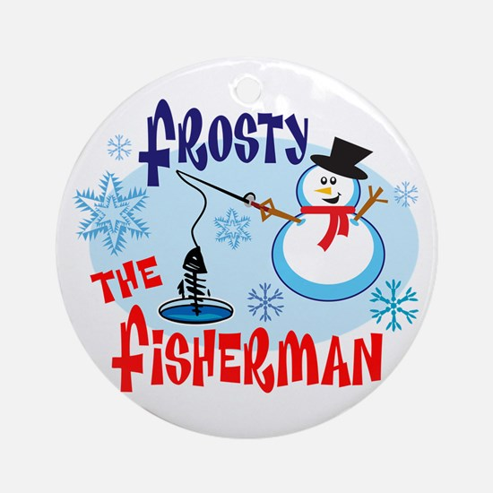 Frosty the Fisherman Ornament (Round)