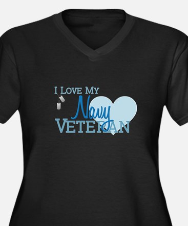 Navy Veteran Women's Plus Size V-Neck Dark T-Shirt