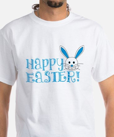 Happy Easter! -Blue/White White T-Shirt