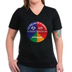 Autistic Spectrum logo Women's V-Neck Dark T-Shirt