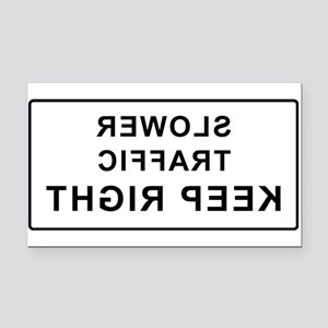 Slower Traffic Keep Right Rectangle Car Magnet