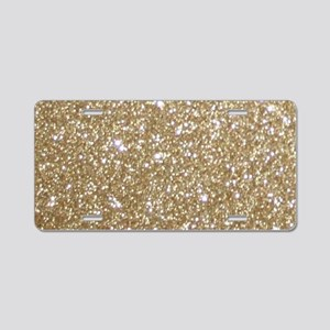 Girly Glam Gold Glitters Aluminum License Plate