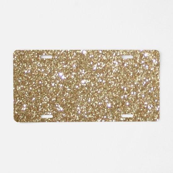 Girly Glam Gold Glitters Aluminum License Plate