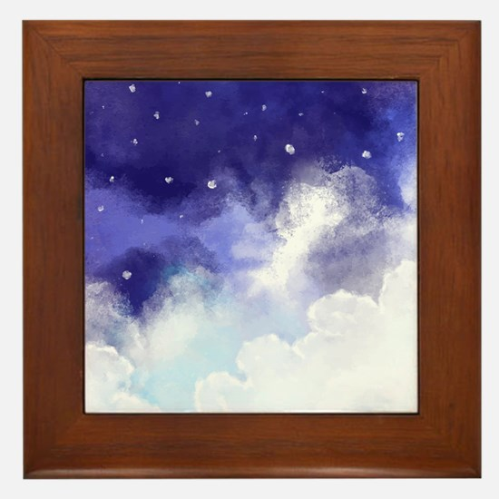 Cute Abstract watercolor Framed Tile
