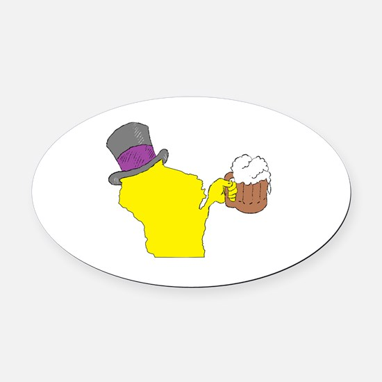 Cool Cheesehead Oval Car Magnet